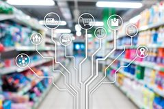 Retail concept marketing channels E-commerce Shopping automation on blurred supermarket background. Retail concept marketing channels E-commerce Shopping royalty free stock images
