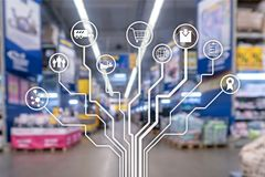 Retail concept marketing channels E-commerce Shopping automation on blurred supermarket background.  stock photography