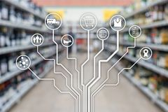 Retail concept marketing channels E-commerce Shopping automation on blurred supermarket background.  stock photo