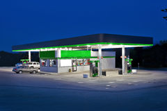 Retail Convenience Store and Gasoline Station. A night shot of a retail convenience store and gasoline station royalty free stock images