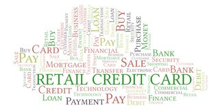 Retail Credit Card word cloud. Wordcloud made with text only stock illustration
