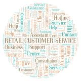 Retail Customer Service word cloud. Wordcloud made with text only royalty free illustration