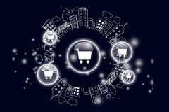 Retail. Discount push best icon store market royalty free illustration