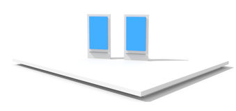 Retail display on white. Blank and empty trade displays on white, original design, 3d illustration royalty free illustration