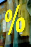 Retail Fashion Store Sale Percent Sign. A Large Percentage Sign In A Clothing Store Window (With Shallow DoF royalty free stock photography
