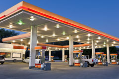 Retail Gasoline Station and Convenience Store. Early evening time exposure of modern retail gasoline station. All identifying logos and trademarks have been Stock Photography