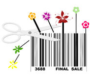 Retail has huge final sale with bar code. On white background Stock Image
