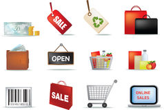 Retail icon set Stock Photography