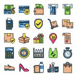 Retail icons pack. Isolated retail symbols collection. Graphic icons element royalty free illustration