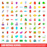 100 retail icons set, cartoon style. 100 retail icons set in cartoon style for any design vector illustration Royalty Free Stock Photo