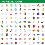 100 retail icons set, cartoon style. 100 retail icons set in cartoon style for any design vector illustration Stock Photography