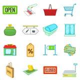 Retail icons set, cartoon style Royalty Free Stock Image