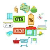 Retail icons set, cartoon style. Retail icons set. Cartoon illustration of 16 retail icons for web Stock Illustration