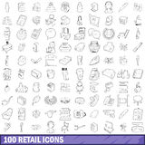100 retail icons set, outline style. 100 retail icons set in outline style for any design vector illustration Royalty Free Stock Photography