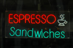 Retail image of a neon restaurant sign Royalty Free Stock Photo