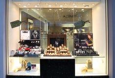 Retail jewelery Christmas window display stock photos