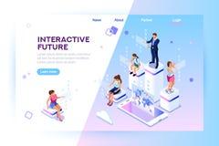 Augmented Reality Learning Entertaining Isometric Banner stock illustration