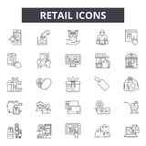 Retail line icons, signs, vector set, linear concept, outline illustration royalty free illustration