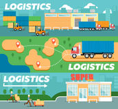 Retail logistics and distribution poster. Freight trucking service, warehousing and storage management. Goods delivery infographics, cargo shipping business Stock Photography