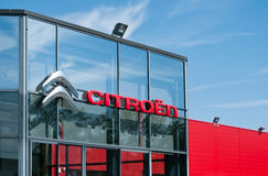 Retail of the logo of the brand citroen the french brand of cars signage on showroom Stock Image