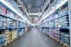 Retail marketing channels E-commerce Shopping automation concept on blurred supermarket background. Retail marketing channels E-commerce Shopping automation vector illustration