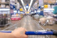 Retail marketing channels E-commerce Shopping automation concept on blurred supermarket background. Retail marketing channels E-commerce Shopping automation stock images
