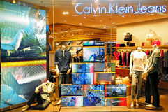 Calvin klein outlet. Retail outlet of stylish and sophisticated brand, calvin klein displaying new clothing at city plaza shopping mall in hong kong Royalty Free Stock Photography