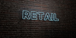 RETAIL -Realistic Neon Sign on Brick Wall background - 3D rendered royalty free stock image. Can be used for online banner ads and direct mailers stock illustration