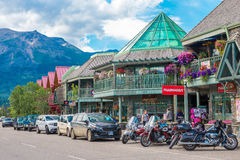Retail Restaurant in Jasper National Park. In the town of Jasper Alberta stock images