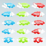 Retail retro peeling stickers. Vector illustration of fifteen cloudy peeling effect business retail stickers with sale theme slogans Stock Photo