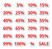 Retail sale percents %  red icons set Stock Photo