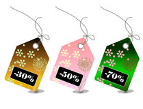 Retail sale price tags for every hoilday season Royalty Free Stock Photography