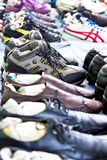 Retail sale of sports shoes Stock Photo