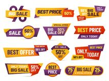 Retail sale tags. Cheap price flyer, best offer price and big sale pricing tag badge design isolated vector collection. Retail sale tags. Cheap price flyer, best royalty free illustration