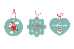 Retail Sale Tags and Clearance Tags. Festive christmas design. Santa Claus, snowflakes and snowman.  Royalty Free Stock Photography