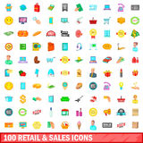 100 retail and sales icons set, cartoon style. 100 retail and sales icons set in cartoon style for any design vector illustration Royalty Free Stock Images