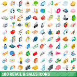 100 retail sales icons set, isometric 3d style Royalty Free Stock Photos