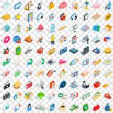 100 retail sales icons set, isometric 3d style Stock Images