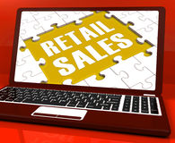 Retail Sales Laptop Shows Selling Or Sales Online Stock Photography