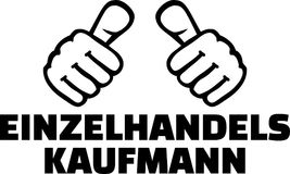 Retail salesman thumbs german. Retail salesman or merchant thumbs german Royalty Free Stock Photography