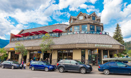 Retail Shop Restaurant Jasper National Park. In the town of Jasper Alberta stock image