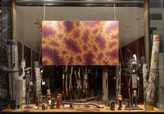 Retail shop window display for aboriginal objects at Circular Qu Stock Photo