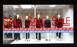 Retail shop window sale sign
