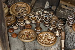 Retail shop in workshop for wooden hand-made souvenir Royalty Free Stock Image