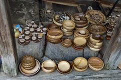 Retail shop in workshop for wooden hand-made souvenir Stock Photography