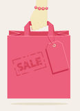 Retail shopping bag, stamped as a promotional sale Royalty Free Stock Images