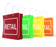 Retail Shopping Bags Shows Buying Selling Merchandise Sales. Retail Shopping Bags Showing Buying Selling Merchandise Sales Stock Photos