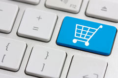 Retail or shopping cart icon. On keyboard button Royalty Free Stock Photography