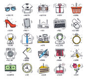 Retail and Shopping Doodle Icon Set Stock Images