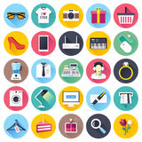 Retail and Shopping Flat Icon Set Royalty Free Stock Photos